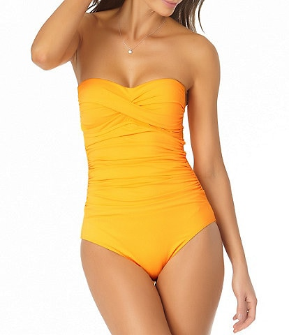Anne Cole Live In Color Twist Front Shirred Bandeau One Piece Swimsuit