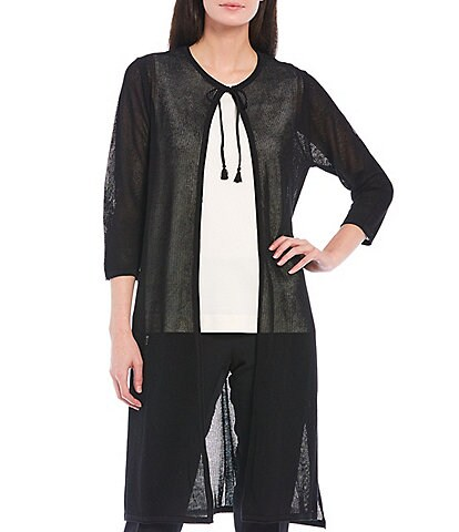 Anne Klein 3/4 Sleeve Perforated Long Duster Cardigan