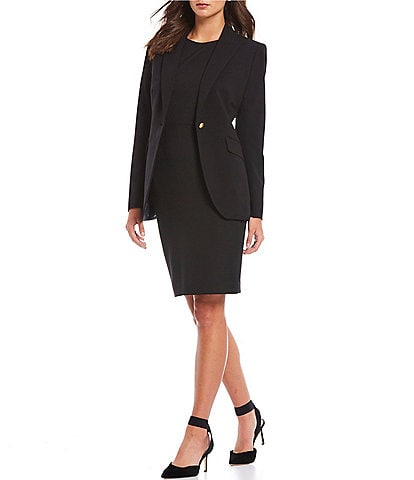 Anne Klein Bi-Stretch Peak Lapel One-Button Blazer Jacket & Stretch Crepe Sleeveless Sheath Dress
