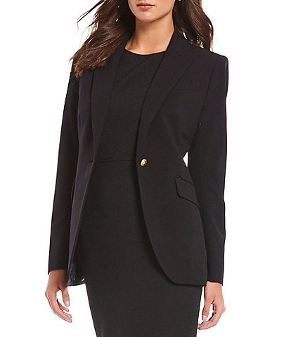 Anne Klein Bi-Stretch Peak Lapel One-Button Blazer Jacket