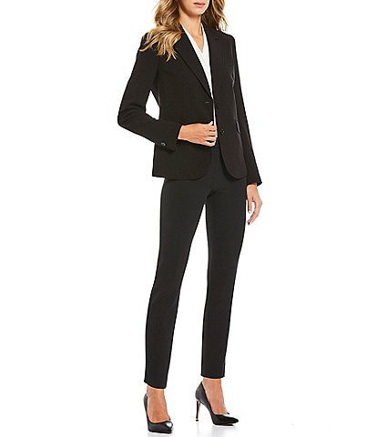 Anne Klein Bi-Stretch Two-Button Front Jacket & Stretch Crepe Slim Straight Leg Ankle Pants
