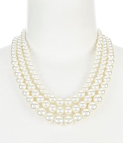 Anne Klein Blanc Pearl Three Row Collar Necklace