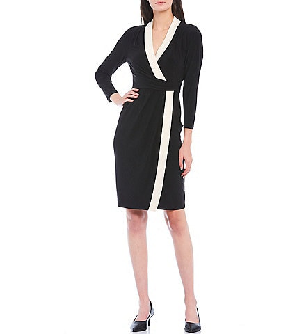 Anne Klein Colorblock Knit Jersey Faux Wrap Dress