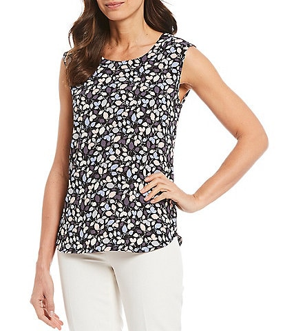 Anne Klein Crepe de Chine Floral Print U-Neck Sleeveless Shell