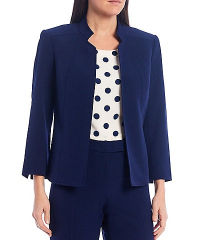 Anne Klein Cropped Stand Collar Crepe Jacket