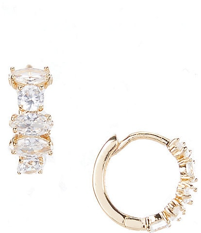 Anne Klein Crystal Navette Round Stone Hoop Earrings