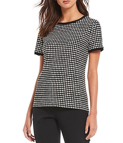 Anne Klein Dot Print Knit Jersey Short Sleeve Crew Neck Button Back Top