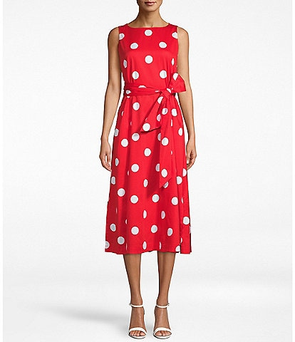 Anne Klein Dotted Bow Front Sleeveless Cotton Blend A-Line Midi Dress