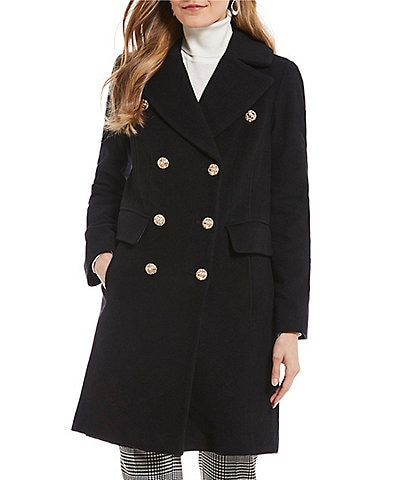 Anne Klein Double Breasted Lion Button Coat