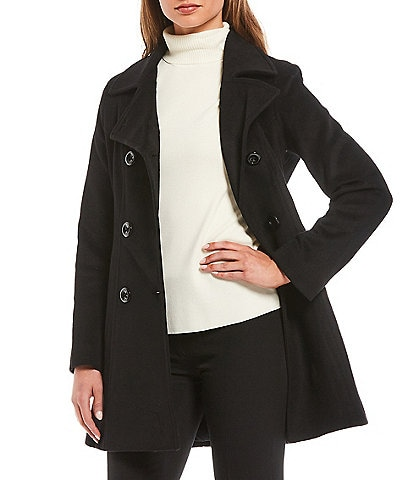 Anne Klein Double Breasted Notch Lapel Wool Blend Peacoat