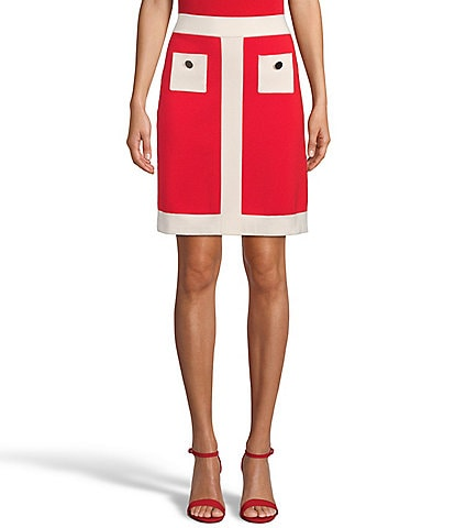Anne Klein Double Faced Colorblock Sleeveless Placket Pocket Skirt