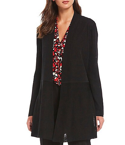 Anne Klein Fine Gauge Ribbed Knit Open-Front Seamed Waist Cardigan