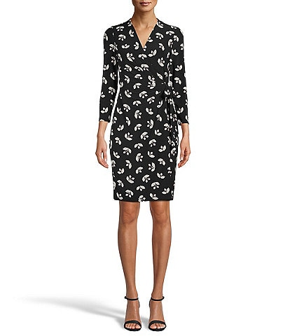 Anne Klein Floral Print Knit Jersey Surplice V-Neck 3/4 Sleeve Side Tie Detail Faux Wrap Dress