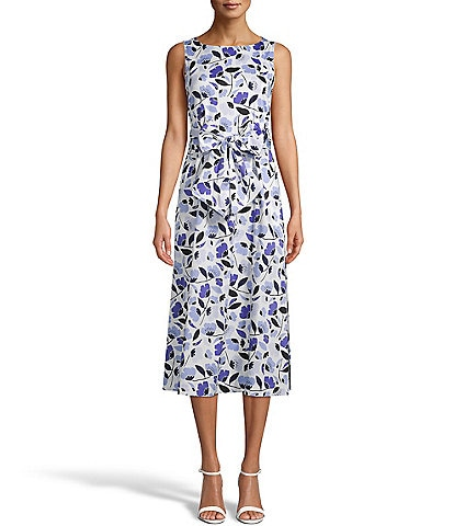 Anne Klein Floral Print Tie Wast Sleeveless Cotton Midi Dress