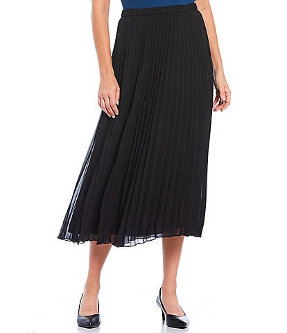 Anne Klein Georgette Pleated Midi Skirt
