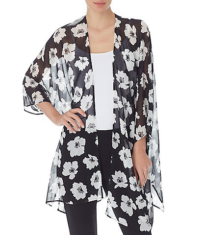 Anne Klein Giverny 3/4 Dolman Sleeve Floral Cardigan