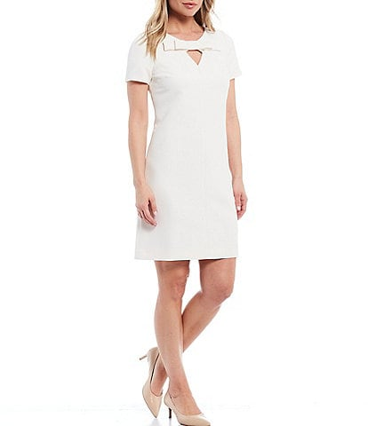 Anne Klein Keyhole Bow Knit Short Sleeve Shift Dress