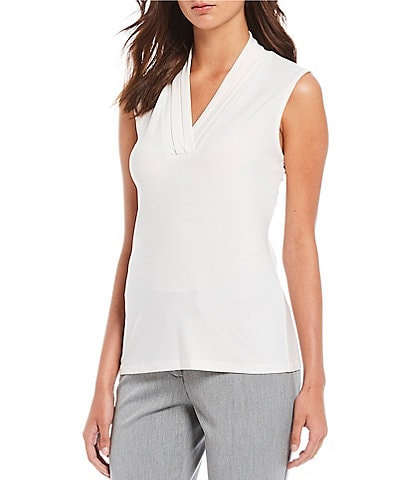 Anne Klein Knit Jersey Pleated V-Neck Shell