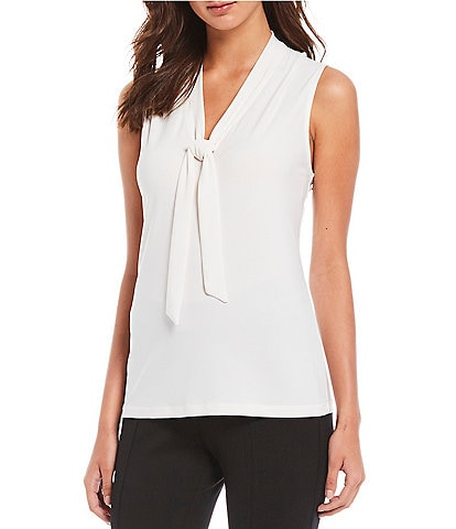 Anne Klein Knit Jersey Tie V-Neck Shell
