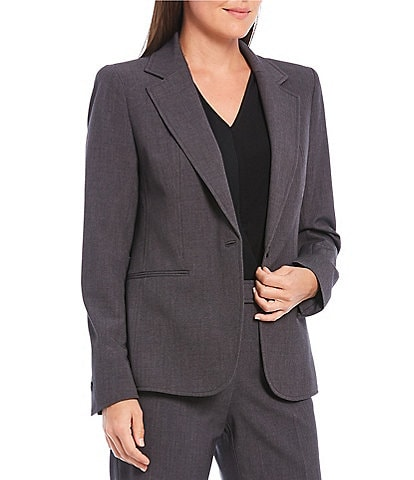 Anne Klein Melange Notch Collar One Button Jacket