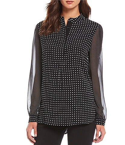 Anne Klein Mixed Dot Print Georgette Long Sleeve Blouse