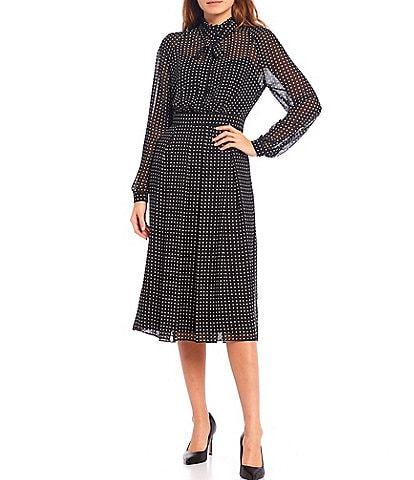 Anne Klein Mock Neck Polka Dot Georgette Midi Dress