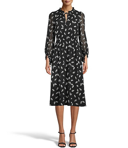 Anne Klein Mock Ruffle Tie Neck Smocked Waist Long Sleeve Leaf Printed Crepe De Chine Midi Dress