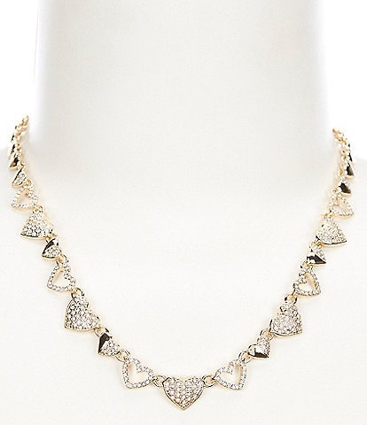 Anne Klein Pave Heart Collar Necklace