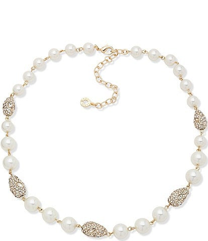 Anne Klein Pave Pearl Collar Necklace