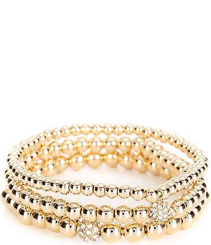 Anne Klein Pave Stretch Bracelet Set