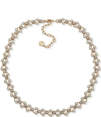Anne Klein Pearl and Crystal Open Collar Necklace