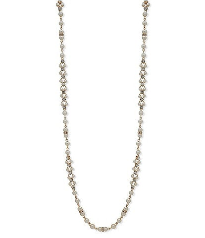 Anne Klein Pearl and Crystal Station Necklace