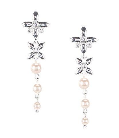 Anne Klein Pearl Flower Linear Earrings