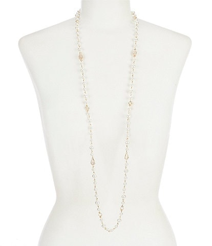 Anne Klein Pearl Pave Station Necklace
