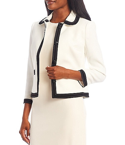 Anne Klein Peter Pan Collared Button Front Jacket
