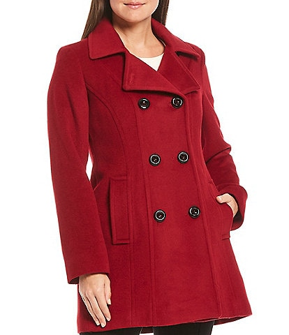 Anne Klein Petite Size Double Breasted Notch Lapel Wool Blend Peacoat