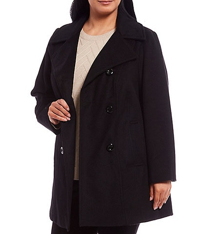 Anne Klein Plus Size Double Breasted Notch Lapel Wool Blend Peacoat