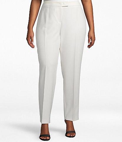 Anne Klein Plus Size Stretch Refined Twill Slim Straight Leg Pants