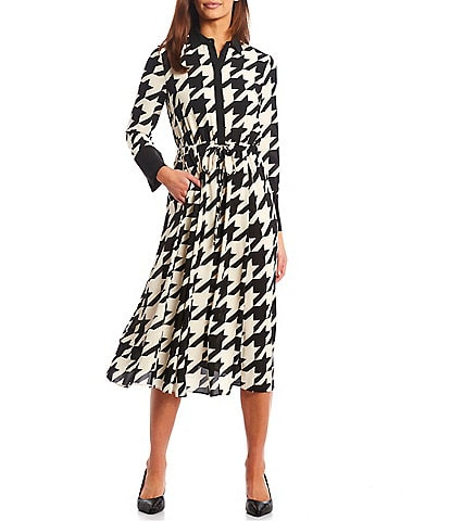Anne Klein Point Collar Long Sleeve Drawstring Tie Front Houndstooth Shirt Dress