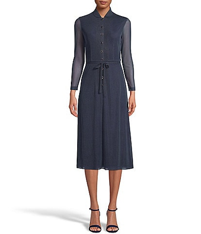 Anne Klein Polka Dot Mesh Peter Pan Collar Long Sleeve Tie Waist Button Front Midi Dress
