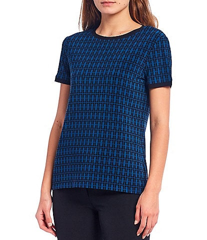 Anne Klein Printed Button Back Jersey Knit Short Sleeve Top
