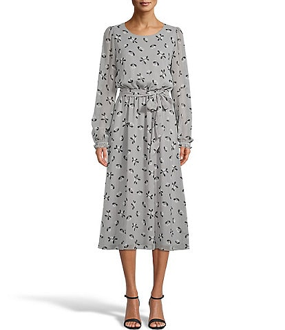 Anne Klein Printed Jersey Elastic Waist Midi Dress