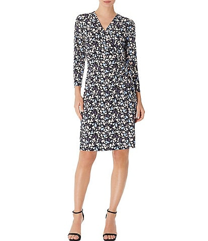 Anne Klein Printed Jersey Faux Wrap Dress