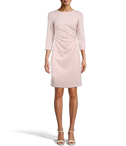 Anne Klein Ruched Side 3/4 Sleeve Textured Crepe Sheath Dress