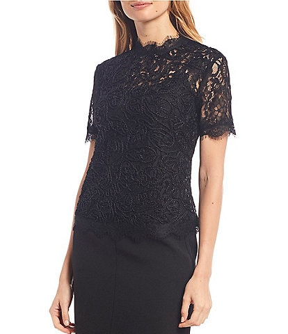 Anne Klein Scallop Corded Lace Mock Neck Short Sleeve Top