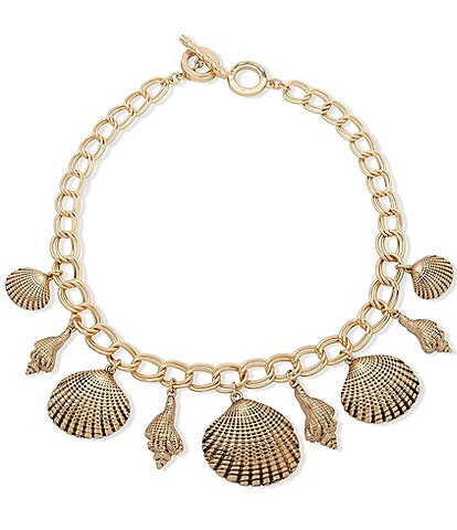 Anne Klein Shell Frontal Toggle Necklace