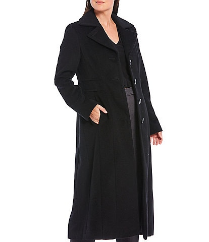 Anne Klein Single Breasted Notch Collar Wool Blend Maxi Coat