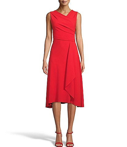 Anne Klein Sleeveless Asymmetrical Drapped Midi Dress