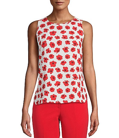 Anne Klein Sleeveless Floral Printed Crepe de Chine Shell