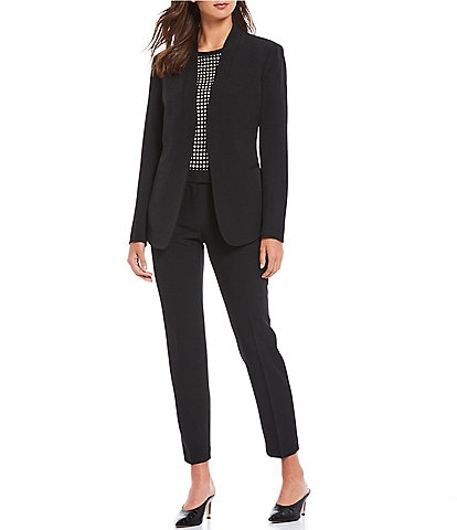 Anne Klein Stretch Crepe Open Front Jacket & Stretch Crepe Slim Straight Leg Ankle Pants